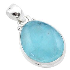 12.58cts natural blue aquamarine 925 sterling silver pendant jewelry t42903