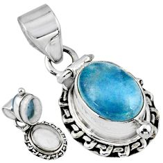 4.36cts natural blue aquamarine 925 sterling silver poison box pendant r55656