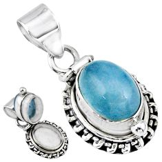 4.71cts natural blue aquamarine 925 sterling silver poison box pendant r55658