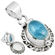 4.52cts natural blue aquamarine 925 sterling silver poison box pendant r55660