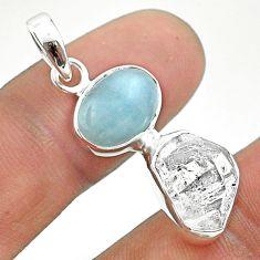 9.83cts natural blue aquamarine herkimer diamond 925 silver pendant t49122