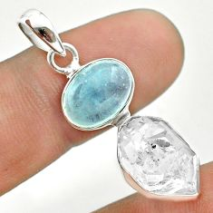 9.83cts natural blue aquamarine herkimer diamond 925 silver pendant t49126