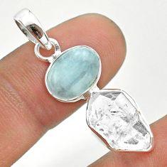 9.75cts natural blue aquamarine herkimer diamond 925 silver pendant t49128