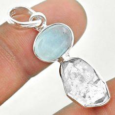 10.19cts natural blue aquamarine herkimer diamond 925 silver pendant t49130
