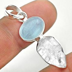 9.83cts natural blue aquamarine herkimer diamond 925 silver pendant t49132