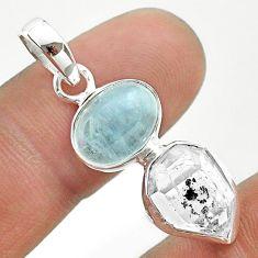 9.37cts natural blue aquamarine herkimer diamond 925 silver pendant t49137