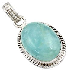 12.55cts natural blue aquamarine oval 925 sterling silver pendant jewelry d45864