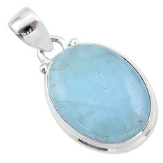 15.05cts natural blue aquamarine oval 925 sterling silver pendant jewelry t42774