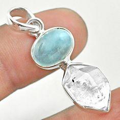 9.83cts natural blue aquamarine oval herkimer diamond 925 silver pendant t49131
