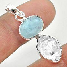 9.83cts natural blue aquamarine oval herkimer diamond 925 silver pendant t49134