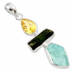 14.20cts natural blue aquamarine rough citrine 925 silver pendant d45322