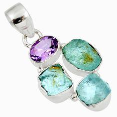 11.04cts natural blue aquamarine rough purple amethyst 925 silver pendant d39165