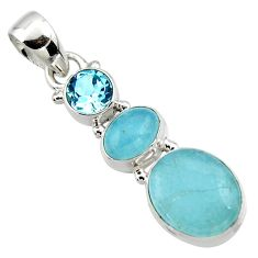 8.33cts natural blue aquamarine topaz 925 sterling silver pendant jewelry r50713