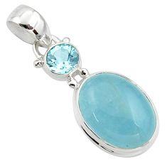 11.73cts natural blue aquamarine topaz 925 sterling silver pendant r39721