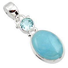 10.62cts natural blue aquamarine topaz 925 sterling silver pendant r39725
