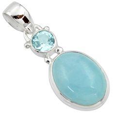 11.53cts natural blue aquamarine topaz 925 sterling silver pendant r39733