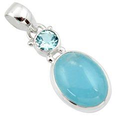 11.62cts natural blue aquamarine topaz 925 sterling silver pendant r39734