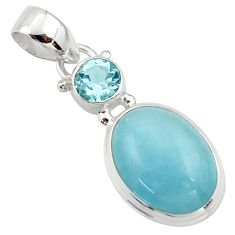 11.73cts natural blue aquamarine topaz 925 sterling silver pendant r39735