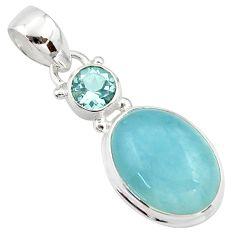 11.73cts natural blue aquamarine topaz 925 sterling silver pendant r39737