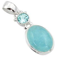 11.17cts natural blue aquamarine topaz 925 sterling silver pendant r39738