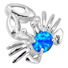 Natural blue australian opal (lab) 925 silver crab pendant jewelry c15725