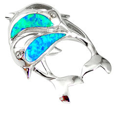 Natural blue australian opal (lab) 925 silver dolphin pendant a61403 c15229
