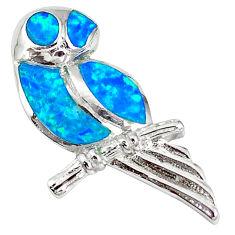 Natural blue australian opal (lab) 925 silver owl pendant jewelry a61259 c15258