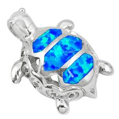 Natural blue australian opal (lab) 925 silver turtle pendant jewelry c15669