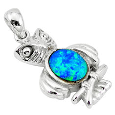 Natural blue australian opal (lab) 925 sterling silver owl pendant c15602