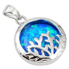 Natural blue australian opal (lab) 925 sterling silver pendant a61392 c15428