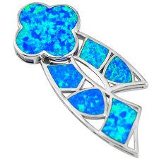 Natural blue australian opal (lab) fancy sterling silver pendant a61325 c15304