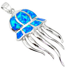 Natural blue australian opal (lab) sterling silver octopus pendant a61341 c15401