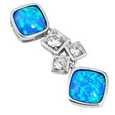 Natural blue australian opal (lab) topaz sterling silver pendant a61417 c15245