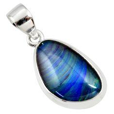 8.43cts natural blue australian opal triplet 925 silver pendant jewelry r36157