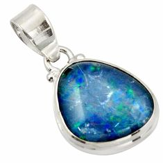 12.05cts natural blue australian opal triplet 925 sterling silver pendant d47406