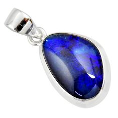 8.56cts natural blue australian opal triplet 925 sterling silver pendant r36143