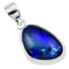 8.87cts natural blue australian opal triplet 925 sterling silver pendant r36145