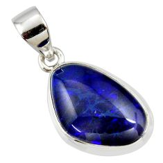 8.56cts natural blue australian opal triplet 925 sterling silver pendant r36146
