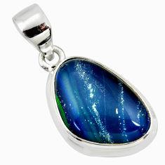 8.89cts natural blue australian opal triplet 925 sterling silver pendant r36149
