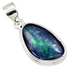 8.56cts natural blue australian opal triplet 925 sterling silver pendant r36150