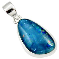 8.87cts natural blue australian opal triplet 925 sterling silver pendant r36159
