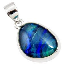 8.87cts natural blue australian opal triplet 925 sterling silver pendant r36161