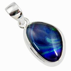8.56cts natural blue australian opal triplet 925 sterling silver pendant r36165