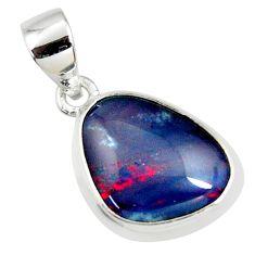 8.12cts natural blue australian opal triplet 925 sterling silver pendant r36171