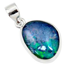 8.93cts natural blue australian opal triplet 925 sterling silver pendant r36174