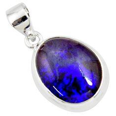 9.86cts natural blue australian opal triplet 925 sterling silver pendant r36177