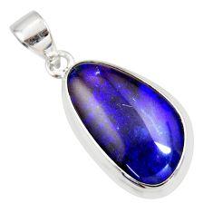 10.32cts natural blue australian opal triplet 925 sterling silver pendant r36193