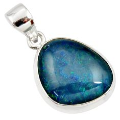 9.37cts natural blue australian opal triplet 925 sterling silver pendant r36196