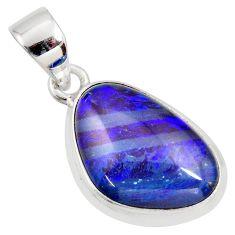 10.08cts natural blue australian opal triplet 925 sterling silver pendant r36478