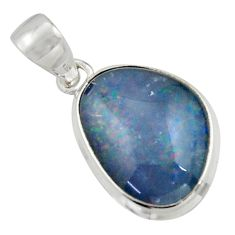 9.67cts natural blue australian opal triplet 925 sterling silver pendant r41859